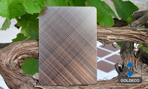 Antique Copper Stainless Steel Sheet with Tilt Cross Lines