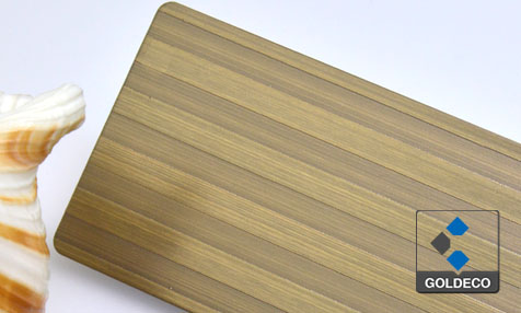 Anqiue Bronze Stainless Steel Sheet with Etched Long Strip
