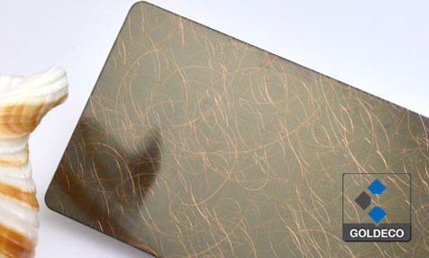 Antique Copper Stainless Steel Sheet with Radom lines