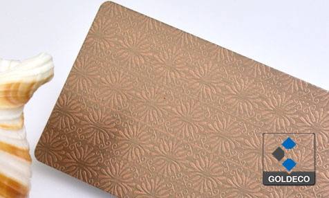 Antique Copper Embossed Stainelss Steel Sheet with Folowers