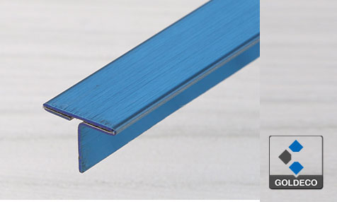 China Brushed Blue Stainless Steel T Shape Trims